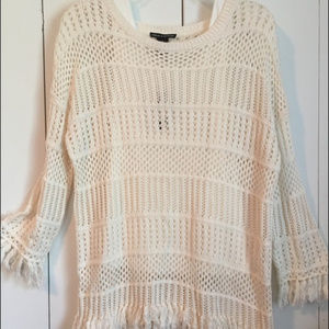 NWT Chelsea & Theodore Luxury Knit Fringe Sweater